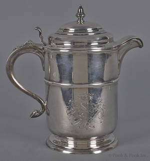 English silver presentation pitcher of American interest