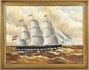 Oil on canvas ship portrait 19th c