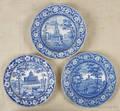 Three historical blue Staffordshire plates 19th c