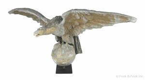Massive copper spread winged eagle architectural ornament 19th c