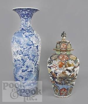 Two Japanese porcelain palace urns