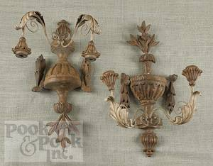 Pair of painted tin and carved wood wall lights