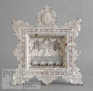 Mother of pearl shadow box frame of the Last Supper