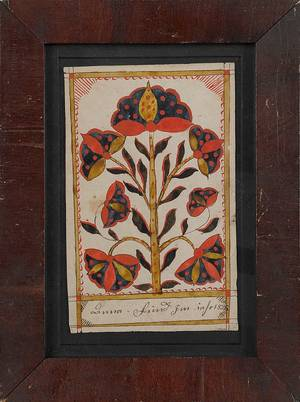 Bucks County Pennsylvania ink and watercolor fraktur bookplate dated