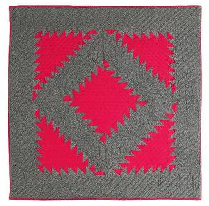 Lancaster County Pennsylvania Mennonite pieced serrated diamond in a square finely quilted crib quilt ca 1900