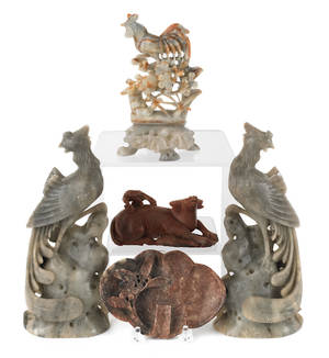 Five Chinese stone carvings