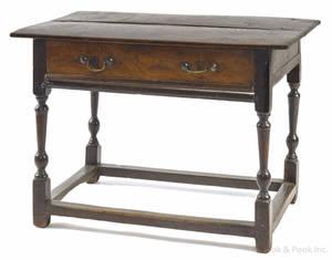 William  Mary oak stretcher base table