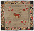 Hooked rug of a horse 19th c