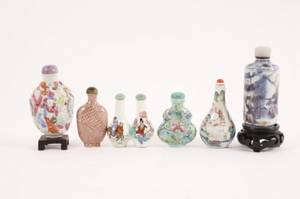 Group of 6 Handpainted Glass Snuff Bottles