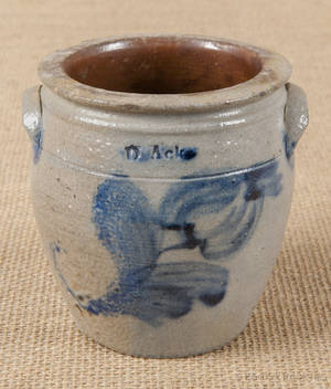 Montour County Pennsylvania miniature stoneware crock 19th c
