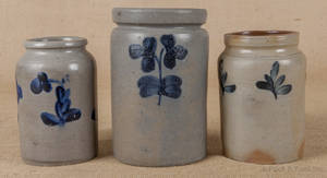 Three Pennsylvania stoneware jars 19th c