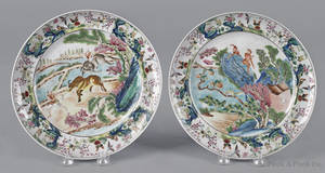 Pair of Chinese export porcelain famille rose plates 19th c