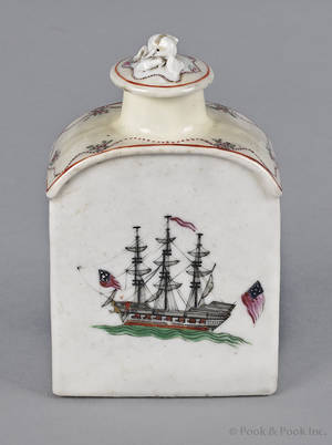 Chinese export porcelain tea caddy 19th c