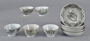 Five Chinese export porcelain Juno and the Peacock cups and saucers 18th c