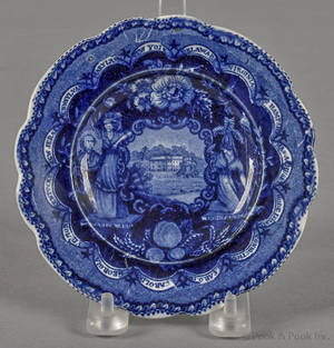 Historical blue Staffordshire America and Independence toddy plate 19th c