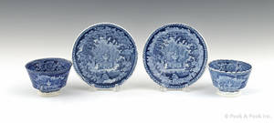 Two historical blue Staffordshire Franklins Tomb cups and saucers 19th c
