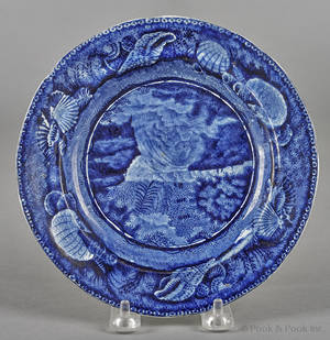 Historical blue Staffordshire View of Trenton Falls plate 19th c