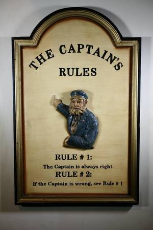The Captains Rules Sign
