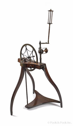 Scottish mahogany and brass spinning wheel late 18th c