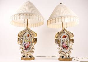 Pair of Old Paris Style Porcelain Urn Table Lamps