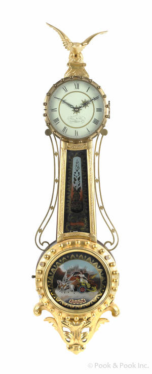 Federal style mahogany and giltwood banjo timepiece
