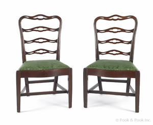 The Logan family pair of Philadelphia Chippendale mahogany ribbonback dining chairs late 18th c