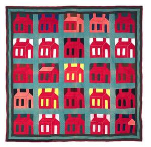 Graphic Lancaster County Pennsylvania pieced schoolhouse quilt early 20th c