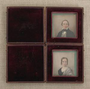 Pair of watercolor on ivory miniature portraits of a man and woman
