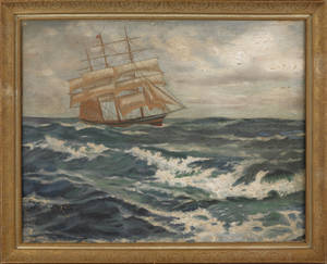 Oil on canvas seascape of a schooner