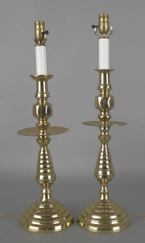 Large pair of brass candlestick table lamps
