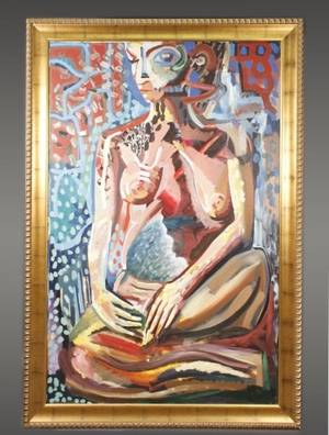 Large Abstract Female Nude Oil on Canvas