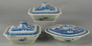 Three Chinese export Canton covered vegetables 19th c