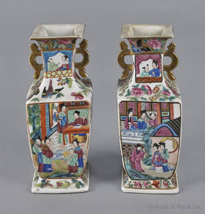 Pair of Chinese export porcelain octagonal famille rose vases 19th c