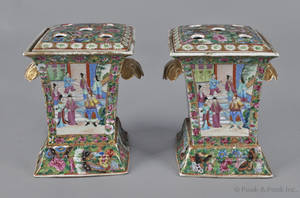 Pair of Chinese export porcelain rectangular famille rose bough pots and covers 19th c
