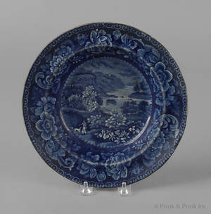 Historical blue Staffordshire View near Philadelphia soup bowl 19th c