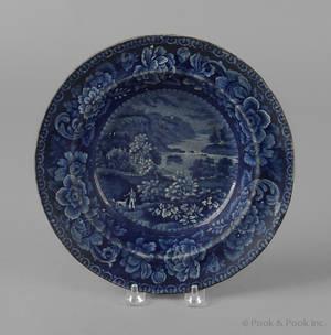 Historical blue Staffordshire View near Philadelphia soup bowl 19th c