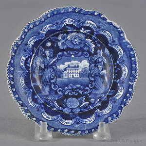 Historical blue Staffordshire America and Independence cup plate 19th c