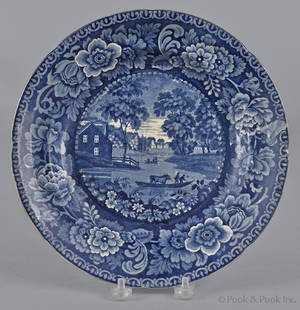 Historical blue Staffordshire Albany soup bowl 19th c