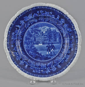Historical blue Staffordshire Columbia College New York plate 19th c