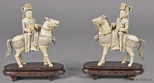Pair of Chinese carved ivory figures on horseback