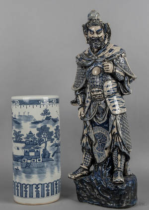Chinese blue and white porcelain figure of a warrior