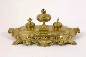 Rococo Style Gilt Bronze Desk Set w 3 Encriers