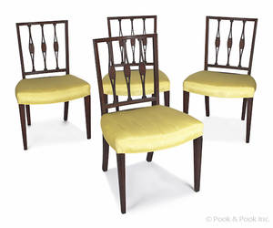 Set of four Hepplewhite style inlaid mahogany dining chairs