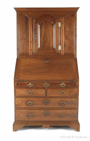 Chester County Queen Anne walnut secretary desk dated