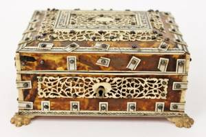 19th C Anglo Indian Ivory  Tortoiseshell Box
