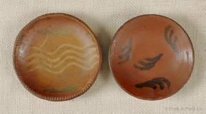 Two miniature Pennsylvania redware pie plates 19th c