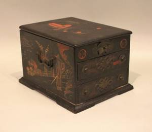 Asian Black Lacquer Dressing Box