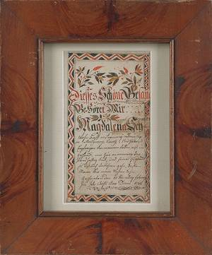Andreas Kolb Lehigh County Pennsylvania active 17841810 watercolor and ink on paper bookplate
