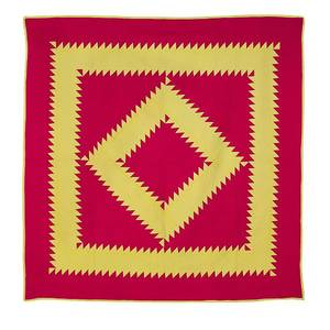 Lancaster or Berks County Pennsylvania Mennonite pieced sawtooth diamond in a square quilt ca 1900