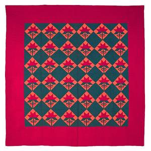 York County Pennsylvania Mennonite pieced orange red and green Ccarolina lily on a square quilt ca 1900